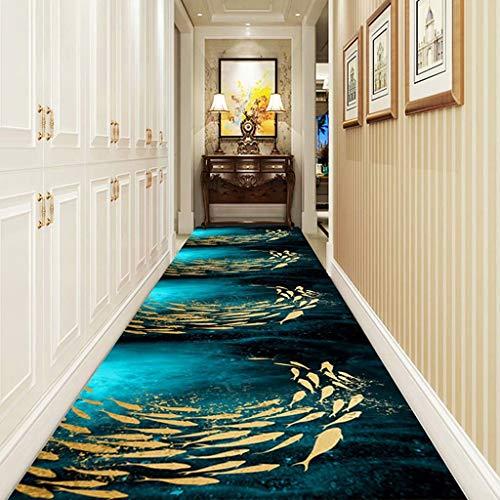 Geeyu Black Hallway Runner Rug, Washable Carpet Runner With Non-Slip Back, Front Door Mat Long Hallway Hall Runner (Color : A, Size : 500x140cm)