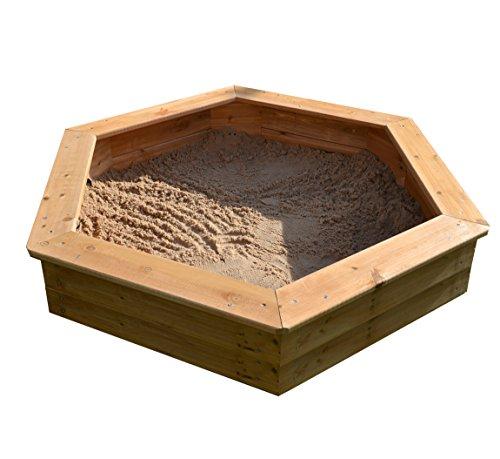 Garden Games Sndkaste Hexagonal | Aus Holz mit Unterlage und Deckel