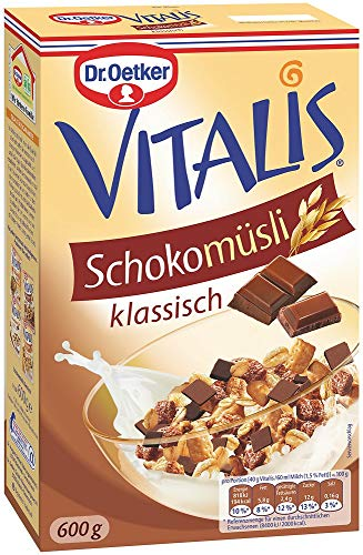 Dr. Oetker Vitalis Schoko Müsli klassisch, Frühstücksmüsli mit Vollmilch- und Zartbitter-Schokolade, 7er Packung (7 x 600g)