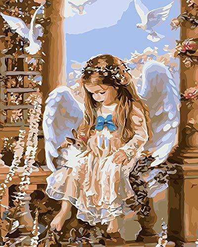 Suntown Malen nach Zahlen 40 x 50cm DIY Leinwand Gemälde für Erwachsene und Kinder mit 3 Bürsten und Acrylfarben - Engel und Kaninchen (Nur Leinwand)