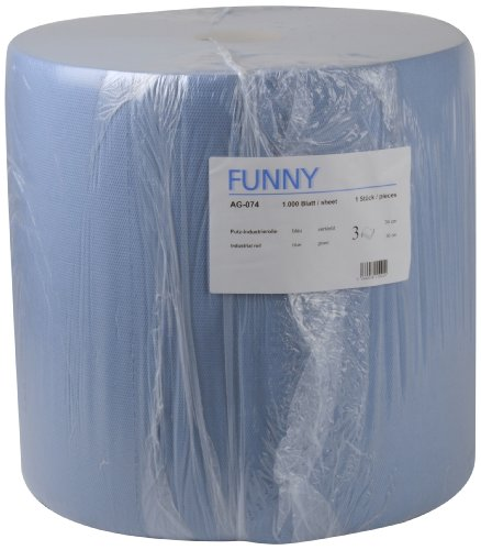 Funny Putzpapierrollen, 3 lagig, blau, circa 36 cm, 1000 Blatt, 1er Pack (1 x 1 Stück)