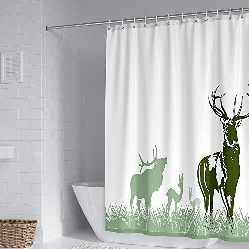 Duschvorhangs Elch Duschvorhang Textil 150 X 180 cm Beschwertem Saum 100prozent Polyester Anti Schimmel Wasserdicht Waschbar Mit 12 Haken