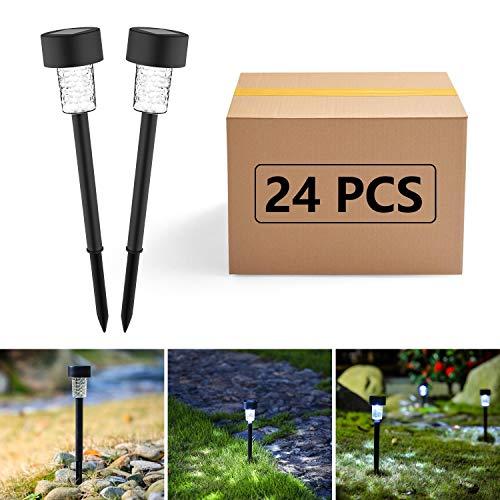 Aigostar Transparente - 24 x Lámpara LED para exterior, Resistente al agua, Luces Solares LED, Encendido y apagado automático, IP44. Para Patio, Césped,Pasillo, Instalación Fácil Sin Cables, Negro