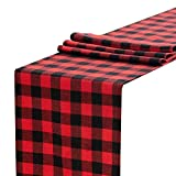 Anteer 12 x 108 inch Buffalo Check Table Runner Cotton Red and Black Plaid for Family Dinner Outdoor or Indoor Parties Thanksgiving Christmas Gathering (Red&Black, 1)