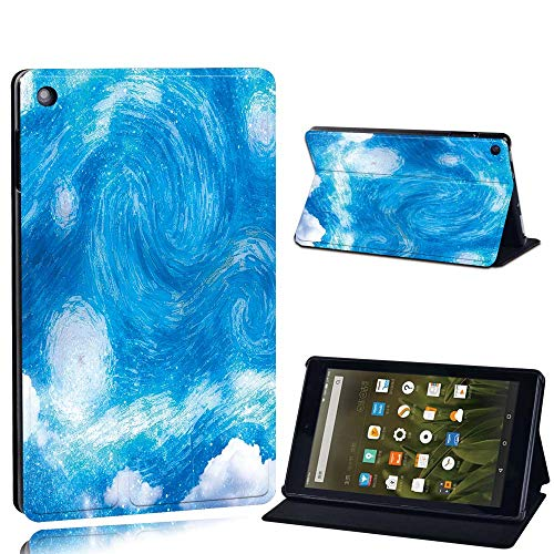 FINDING CASE For Amazon Fire HD 8 (6th 7th 8th Gen) Tablet - Printed PU Flip Leather Smart Lightweight Shell Stand Cover Case for Fire HD 8 (6th 7th 8th Gen) (light sky paint)