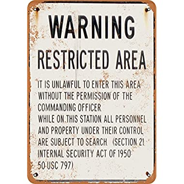 Wall-Color 7 x 10 METAL SIGN - Warning Military Restricted Area - Vintage Look Reproduction