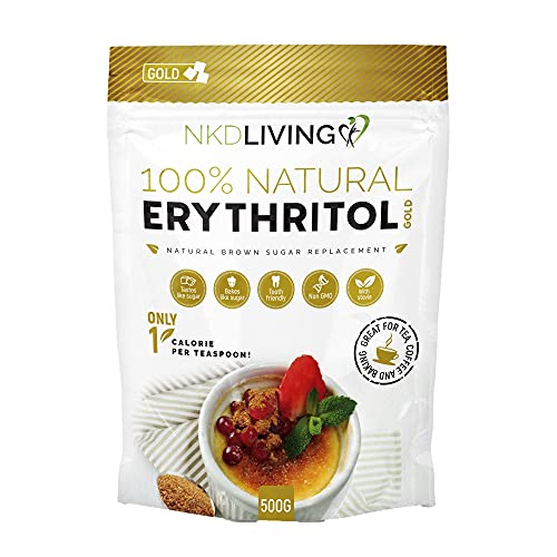 Erythritol Gold 500g by NKD Living - Natural Brown Sugar Alternative with Stevia