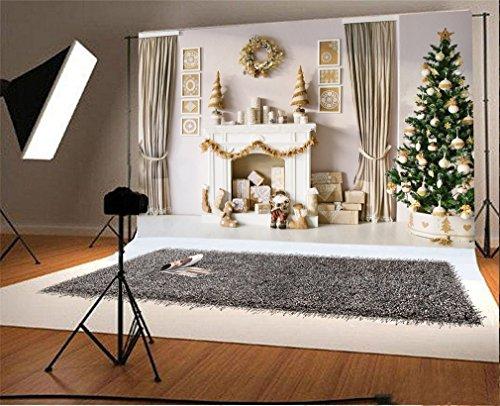 YongFoto 7x5ft fotografie achtergrond kerstboom geschenken open haard slinger sokken gordijn interieur foto achtergrond fotografie videopartij pasgeboren kinderen baby portret foto studio rekwisieten
