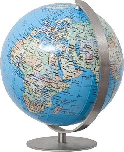 COLUMBUS DUO: Miniglobus, politisch, unbeleuchtet, 12 cm Durchmesser, handkaschiert, Fuß und Meridian edelstahl