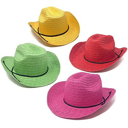 12 Piece Colorful Cowboy Hats - Adult Western Colorful Straw Hats for Western Theme Party