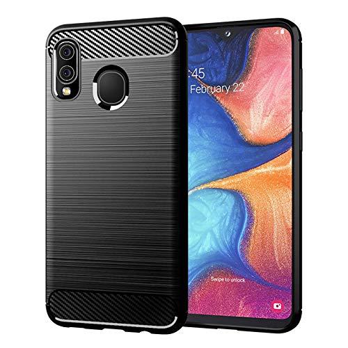 32nd Serie di Carbonio - Effetto Fibra di Carbonio Custodia Antiurto Slim Cover per Samsung Galaxy A20e (2019) Custodia Protettiva Compatta, Sottile e Resistente - Nero