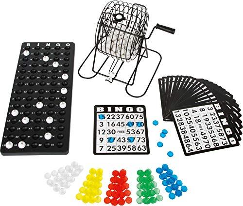 Bavaria Home Style Collection Bingo Spiel Set mit Bingotrommel aus Metall | 75 Kugeln | 18 Bingo Spiel Karten | 150 Bingochips | Ergebnisbrett | Gesellschaftsspiele | Geschenkideen Spieleabend