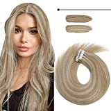 Sunny Tape in Hair Extensions Highlight 22 Inch Silky Straight Hair Extensions Tape in Color#16/22 Dark Ash Blonde Highlight Golden Blonde Hair Extensions for Women 20pcs 50g