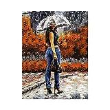 wcyljrb DIY Pintura Digital Lienzo De Pintura Al Óleo Digital Estilo Paraguas Pareja Niños Adultos Niños Decoración del Hogar Cepillo Tema Digital Oil Painting Canvas Kit-16 X 20 Pulgadas (Sin Marco)