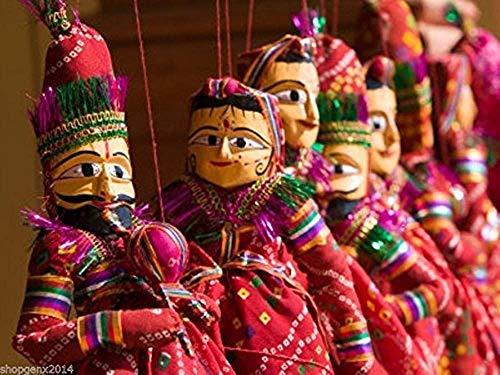 OMG-Deal Rajasthani Indische Puppen, dekorative Heimdekoration, seltene Kathputli, 1 Paar