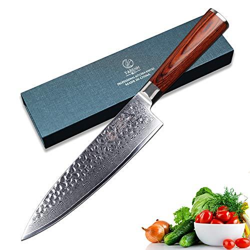 YARENH Cuchillos de Cocina Profesionales 20cm,Cuchillo Cocina de Acero de Japones Damasco,Mango...