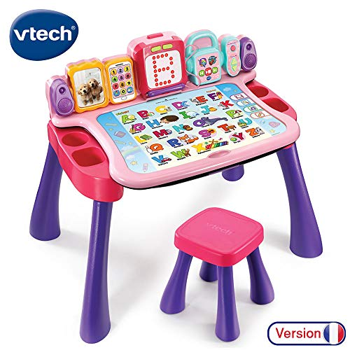V Tech 4 in 1 Interactive Desk Magi Pink (with Writing Function) - FRENCH VERSION