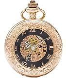 SEWOR Vintage Lupa Esqueleto Reloj de Bolsillo mecánico Mano Viento Reloj de Bolsillo Incluyen Caja de Cuero Marca (Oro Rosa)
