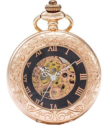 SEWOR Vintage Lupa Esqueleto Reloj de Bolsillo mecánico Mano Viento Reloj de Bolsillo Incluyen Caja de Cuero Marca