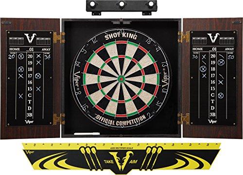 Viper Stadium Cabinet & Shot King Sisal/Bristle Dartboard Ready-to-Play Bundle: Premium Set (Shot King Dartboard, Darts, Shadow Buster and Throw Line)