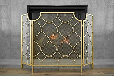 """Barton Freestanding 3-Panel 49"""" x 30""""-inch Fireplace Screen Cover Spark Guard Safety Protector W/Decorative - Gold by Barton"""
