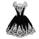 Kivary Vintage Short Little Black and White Lace Corset Lolita Prom Homecoming Dresses Gothic US 22W