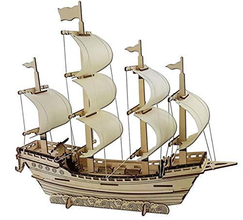 LEY Segelboot DIY Spielzeug Puzzle 3D Kleines Boot Pädagogische Kinder Geschenkspiele Montieren Holz Gebäuder Ferry Modell Holzspielzeug Segelschiff