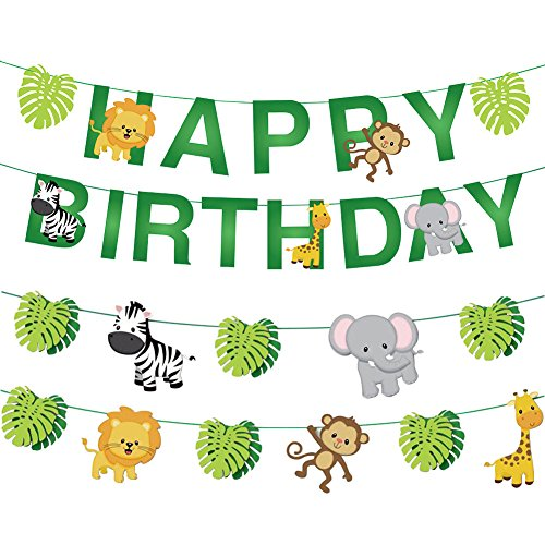 Jiahai 34pcs Jungle Animals Leaves Happy Birthday Banner Decoration Set for Woodland Garland Forest Theme Birthday Festival Party