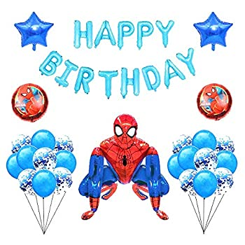 BCD-PRO Spiderman Airwalker with Birthday Banner and Balloons for Kids Party Supplies Decoration