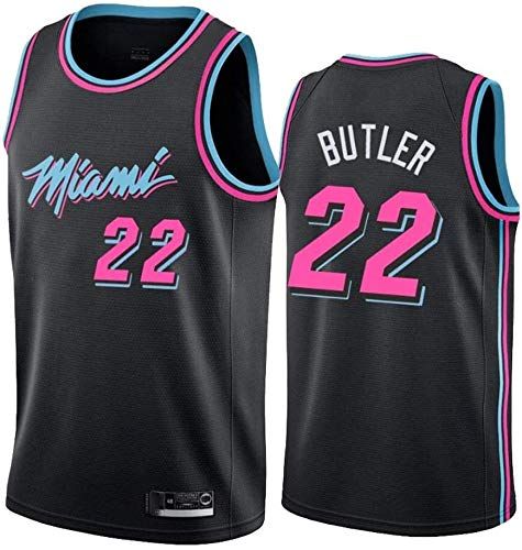 Donne Jersey AMJUNM Uomo - NBA Miami Heat 22# Butler Maglie Traspirante Ricamati Pallacanestro Swingman Jersey (Color : Black, Size : M)