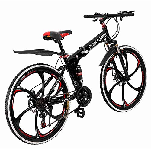 Outroad Mountain Bike 21 Speed 26in Folding Bike Double Disc Brake Bicycles, High Carbon Steel Lightweight and Durable All-Terrain Mountain Bike,City Riding Travel Go Working for Men Women (Red)