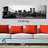 BoxColors - Single panel 3 Size Options Art Canvas Print NY Bridge new york City Skyline Panoramic Downtown Night black & white Wall Home Office decor (framed 1.5\