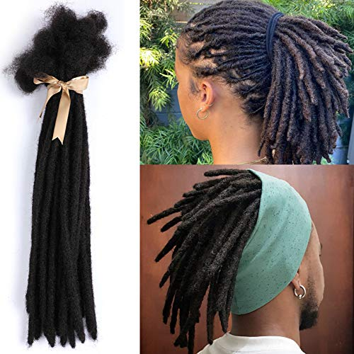 ALIMICE Jet Black Human Hair Dreadlock Extensions 12 Inches 30 Locs/Strands 0.8-1cm Width Human Hair Loc Extension Permanent Dread Extensions for Women, Men (Natural Black, 12 INCH)