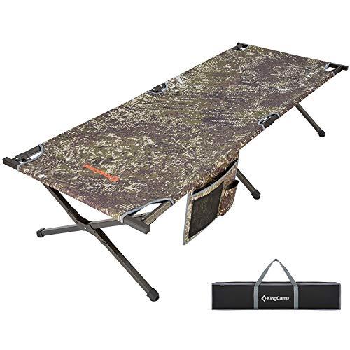 KingCamp XL Campingbett 205 × 75 × 46 cm Feldbett mit Seitentasche bis 120 kg belastbar (Tarnung)