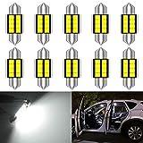 KATUR DE3175 DE3021 Festoon C5W Led Bulbs 31mm White Light Super Bright Chipsets Canbus Error Free for 3175 3022 3021 Interior Light,Dome Light,Map Light,Door Light,Trunk Light (Pack of 10)