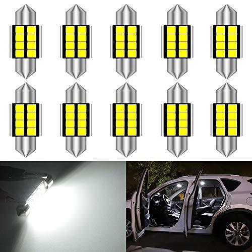 KATUR DE3175 DE3021 Festoon C5W LED Ampoules 31mm Lumière Blanche Canbus sans Erreur pour 3175 Lumière intérieure, Lumière de dôme, Lumière de Carte, Lumière de Porte, Lumière de Coffre (Lot de 10)