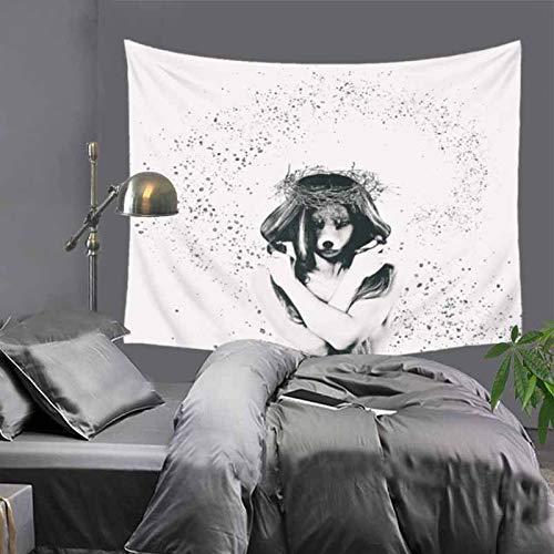 jtxqe Dekorative Tapisserie Decke Moderne Einfache Webmaschine Waschbar Europa und Amerika Romantische Druck Tuch Wand Hintergrund Malerei Tapisserie Wandteppich Kunstszene 130x150 cm