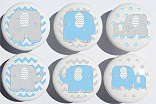 Blue Elephant Drawer Pulls Jungle Safari Elephant Nursery Decor Ceramic Cabinet Drawer Knobs, 6 Set (Blue Elephants)