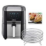 GoWISE USA 7-Quart Air Fryer & Dehydrator - with Ergonomic Touchscreen Display with Stackable Dehydrating Racks with Preheat & Broil Functions + 100 Recipes (Black/Stainless Steel) (Renewed)