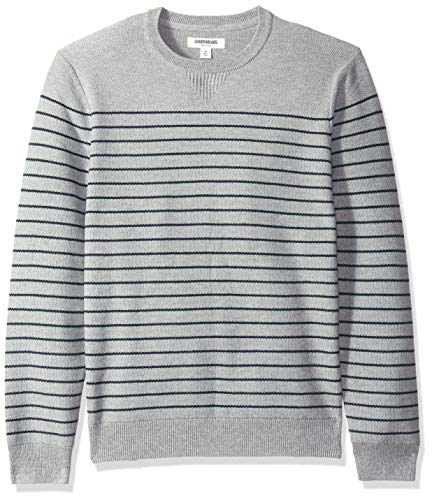 Goodthreads Men's Soft Cotton Multi-Color Striped Crewneck Sweater, Heather Grey/Navy, X-Large