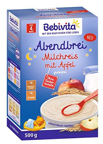 Bebivita avond pap melk rijst met appel, zonder toegevoegde suiker, glutenvrij, 500 g na de 4e maand