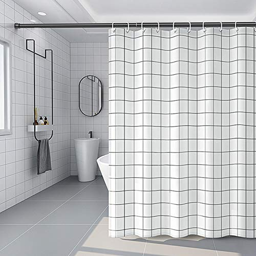 SANGUANG 72X72 Inch Polyester Shepherd Check Modern Style Shower Curtain Waterproof Shower Curtains for Bathroom Shower Families and Upscale Hotels (Shepherd Check Small)