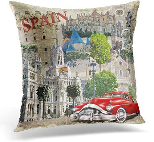 BONRI Throw Pillow Cover Europe Collage Spain Vintage Car Travel Retro Spanish...