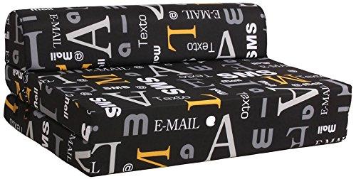 CANAPES TISSUS Enjoy 2 Chauffeuse Canapé-Lit, Velours, Noir, 119 x 78 x 48 cm