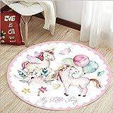 Yugy Teppich Kinder Runde Mädchen Junge Cartoon Einhorn Rosa Kinderzimmer Dekoration Krabbeldecke Nachttisch 100cm