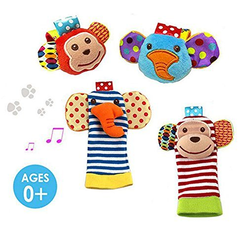 Daisy 4-Piece Animal Baby Infant Wrists Rattle and Socks Foot Finders Set...