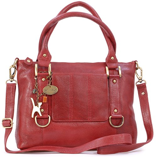 Catwalk Collection Handbags - Leder - Umhängetasche/Handtasche - Handtasche mit Schultergurt/Schultertasche - GALLERY - Rot