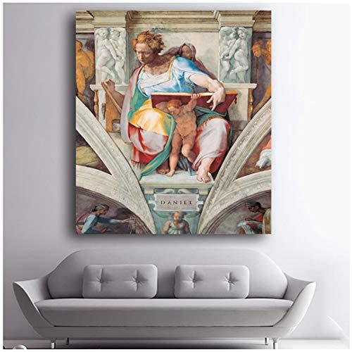 chtshjdtb canvas kunstdruk creatie van Adam Fresco schilderij van Michelangelo wereldberoemd schilderwerk canvas muurschildering poster -60x80cm geen lijst