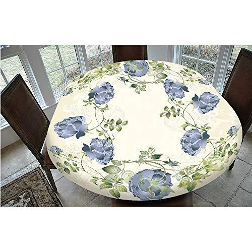Mantel de mesa resistente a las manchas, con bordes elásticos, estilo vintage, diseño de rosas y hojas, ideal para mesas ovaladas o Olbong de 48 x 68 pulgadas, para comedor y cocina, color azul
