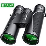Jumelles Adultes Puissante, 12 x 42 Jumelles Professionnelles HD étanche avec Faible Vision Nocturne et Couvercle d'objectif pour Observation des Oiseaux, Le Camping, la Randonnée Pédestre